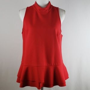 Anthropologie red peplum top mock neck size L